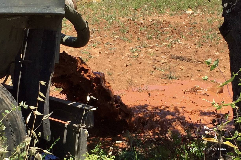 Afvoer van het kleiwater uit de tanks van B&B Cas al Cubo